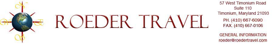 Roeder Travel, one of Maryland's top travel agencies!